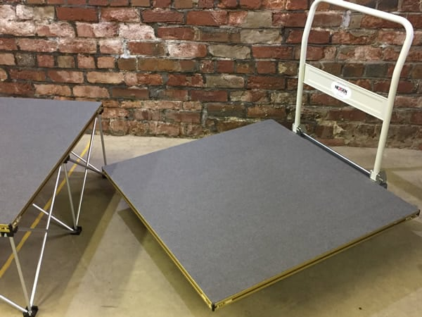 1x1m square staging deck platform on trolley - NexGen