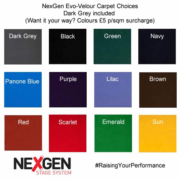 NexGen portable staging in carpet colours