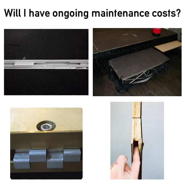 poartable staging maintenance costs
